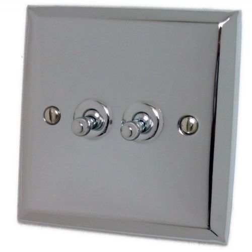 G&H SC282 Spectrum Plate Polished Chrome 2 Gang 1 or 2 Way Toggle Light Switch